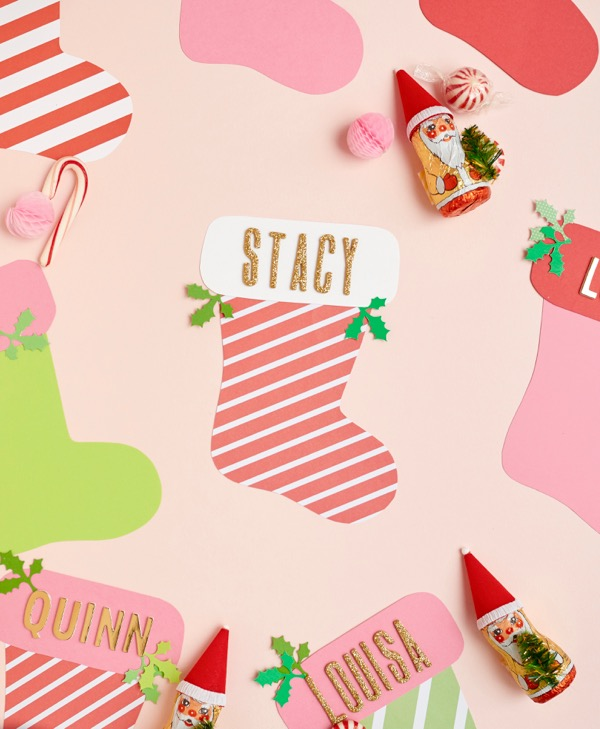 Holiday Stocking Place Cards DIY | Oh Happy Day!
