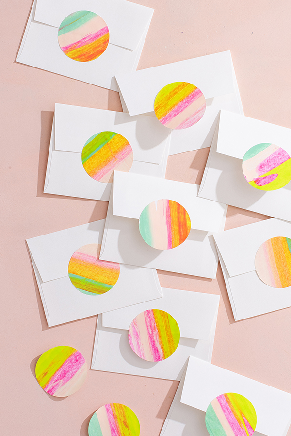 Neon painted stickers |  Oh happy day